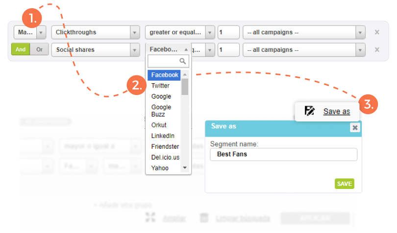 """Email Marketing Segmentation - Add second filter (""""and"""") who shared on Facebook 