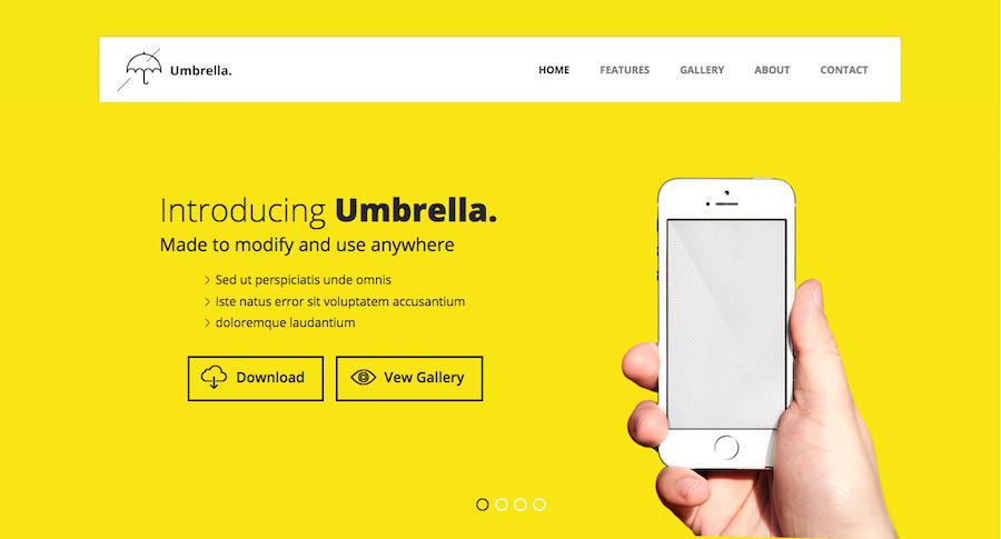 exemplos de landing page - Umbrella