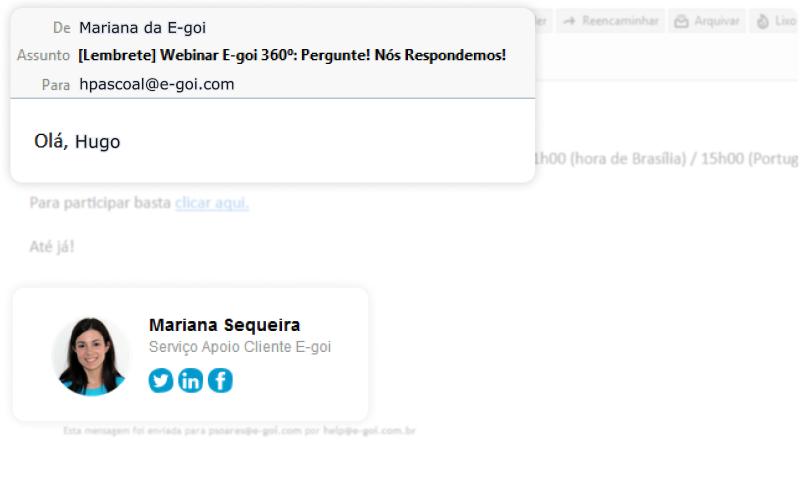 Exemplo de email com remetente pessoal | E-goi